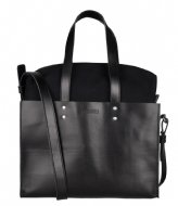 Shabbies Handbag L Nat Dyed Smooth Leather With Canvas black