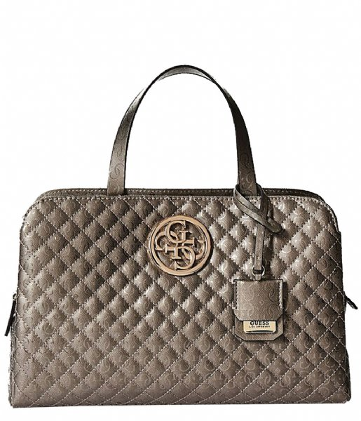 Gioia Girlfriend Satchel pewter Guess  21bbb68ff33e1
