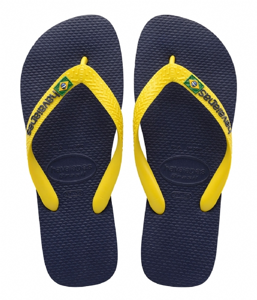 ad427a189 Kids Flipflops Brasil Logo navy blue citrus yellow (3587) Havaianas ...