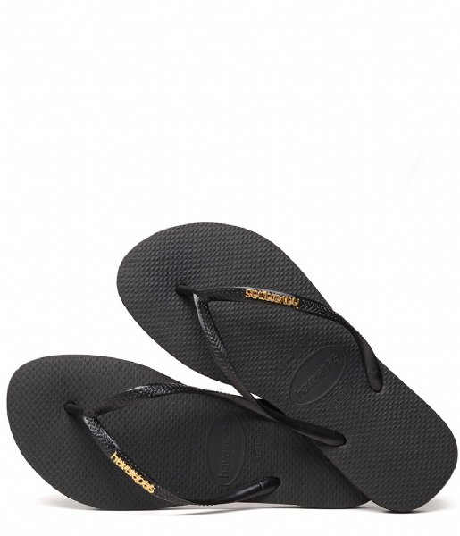 0b2f41a45b198 Flipflops Slim Logo Metallic black golden (0801) Havaianas