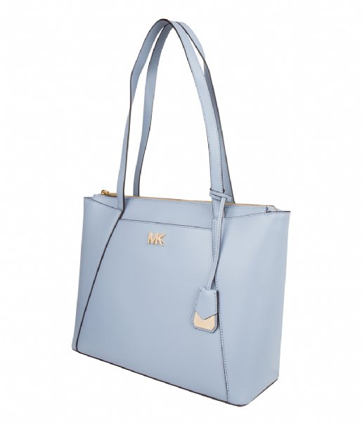 7bdff7b07819 Maddie Medium EW Top Zip Tote pale blue   gold hardware Michael Kors ...
