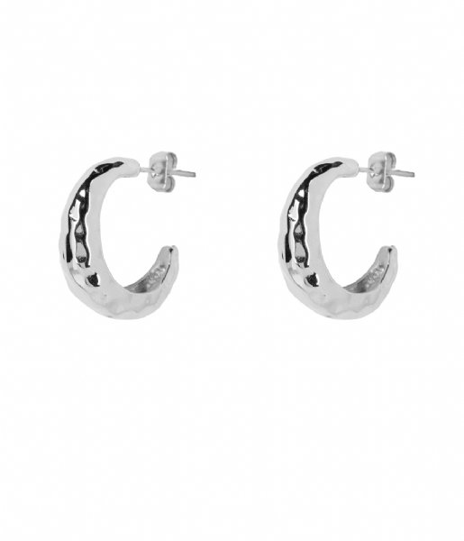 The Little Green Bag  Ripple Hoops  X My Jewellery silver colored